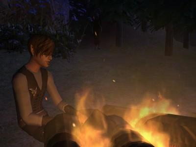 Vash enjoying a fire.