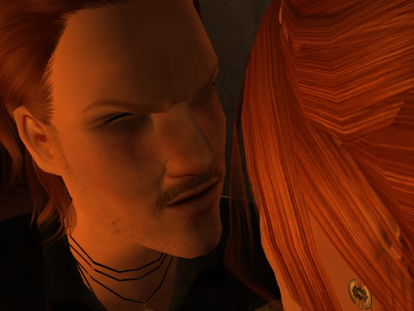 Muirgius leaned so close to her that she could stare down into his pores.